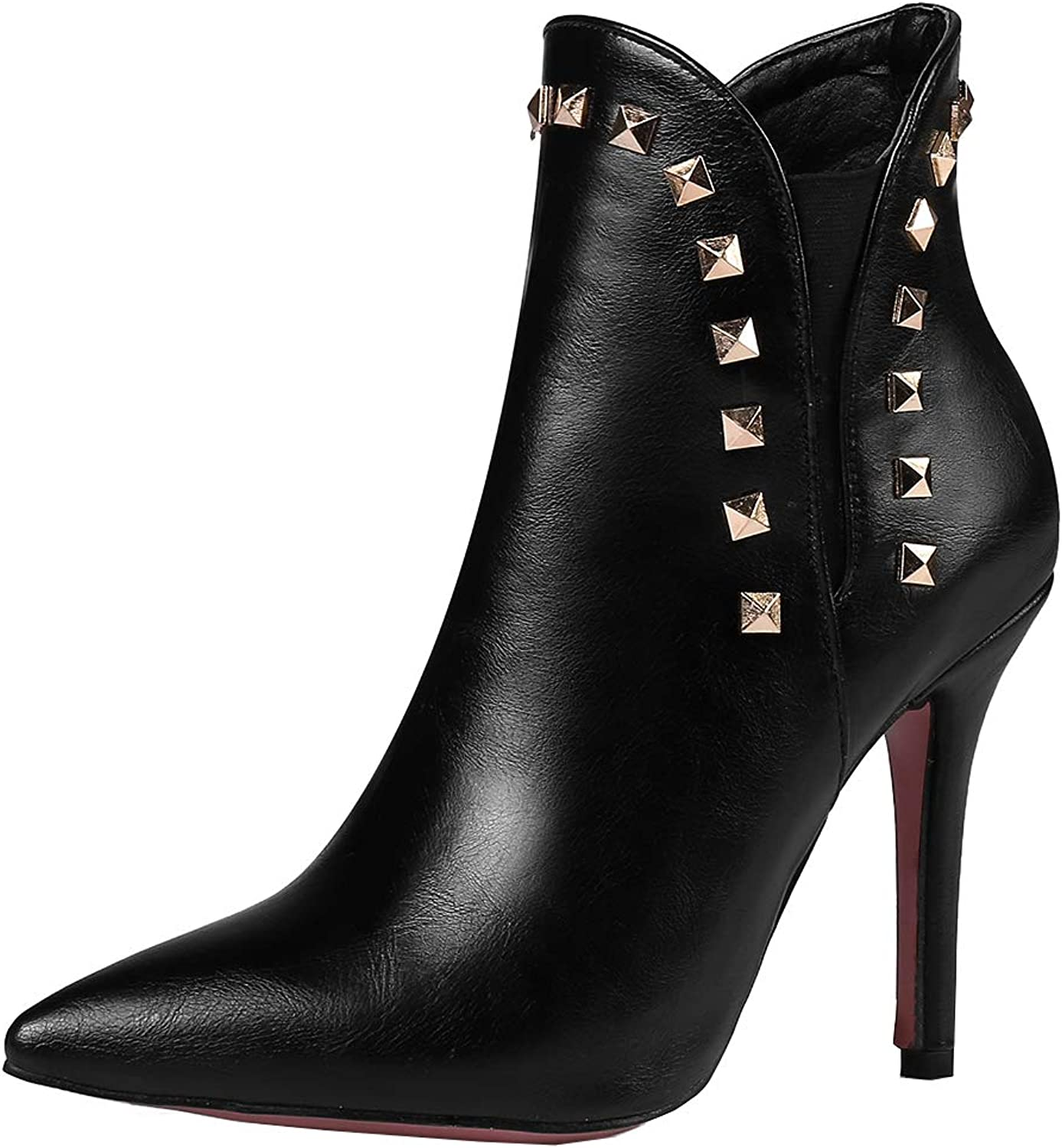 Kikiva Womens High Heel Stiletto Ankle Boots Pointed Toe Short Booties with Studded