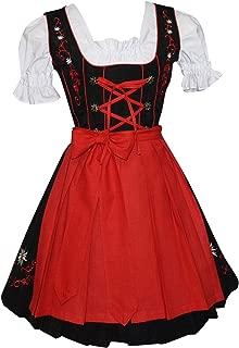 3 Piece German Oktoberfest Dirndl Dress, Black and Red