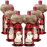 Weinflaschenüberzug mit weihnachtlichem Büffelmuster, 6 Stück