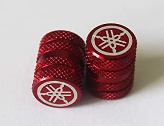 Yamaha 90338-W1016-RE - Set Of 2 Genuine Yamaha Tuning Fork Knurled Red Tyre Tire Valve Caps Dust Caps Protectors For Motorcycles, Bicycles, ATV , Car , Van