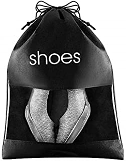 """FABBPRO Shoe Storage Bag Organizer See Through Black Color 6 Pack - 15"""" x 10.5"""" - Shoes Travel Bags with Drawstring and PVC Window to Identify Shoes - Ideal for Home Guest Room Travel Bag"""
