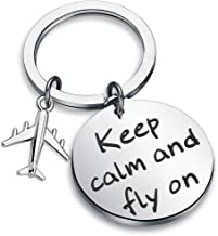 Zuo Bao Pilot Jewelry Keep Calm and Fly On Airplane Keychain for Police Firefighter Pilot Military Copilot Fly Safe Keychain Gift for Him