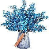 Babys Breath Fabric Cloth Artificial Flowers 6 Bundle European Fake Silk Plants Decor Wedding Party Decoration Bouquets Real Touch DIY Home Garden (No vase,Blue)