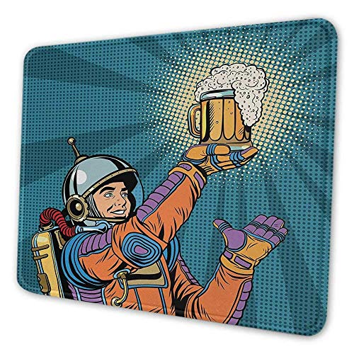 Astronaut Office Mouse Pad Bunter Astronaut hält Bier durstig nach Bier Long Voyage Retro Style Drawing Inspirational Mouse Pad für Frauen Multicolor