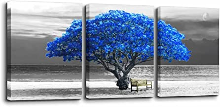 3 Panels wall art for living room Decorations Photo Prints - panoramic black and white with blue trees The moon scenery - Modern Home Decor room Stretched Framed Ready to Hang artwork 12