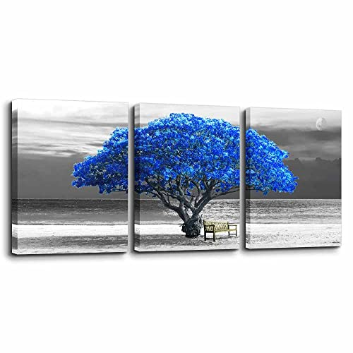 Modern Blue Black White Abstract Art: Amazon com