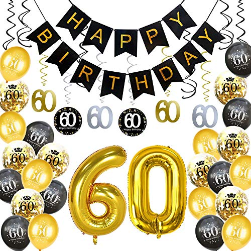 HankRobot 60th Birthday Decorations Party Supplies?42pack? Gold Number Balloon 60 Happy Birthday Banner Latex Balloons(Black, Golden) Confetti Balloons (60)