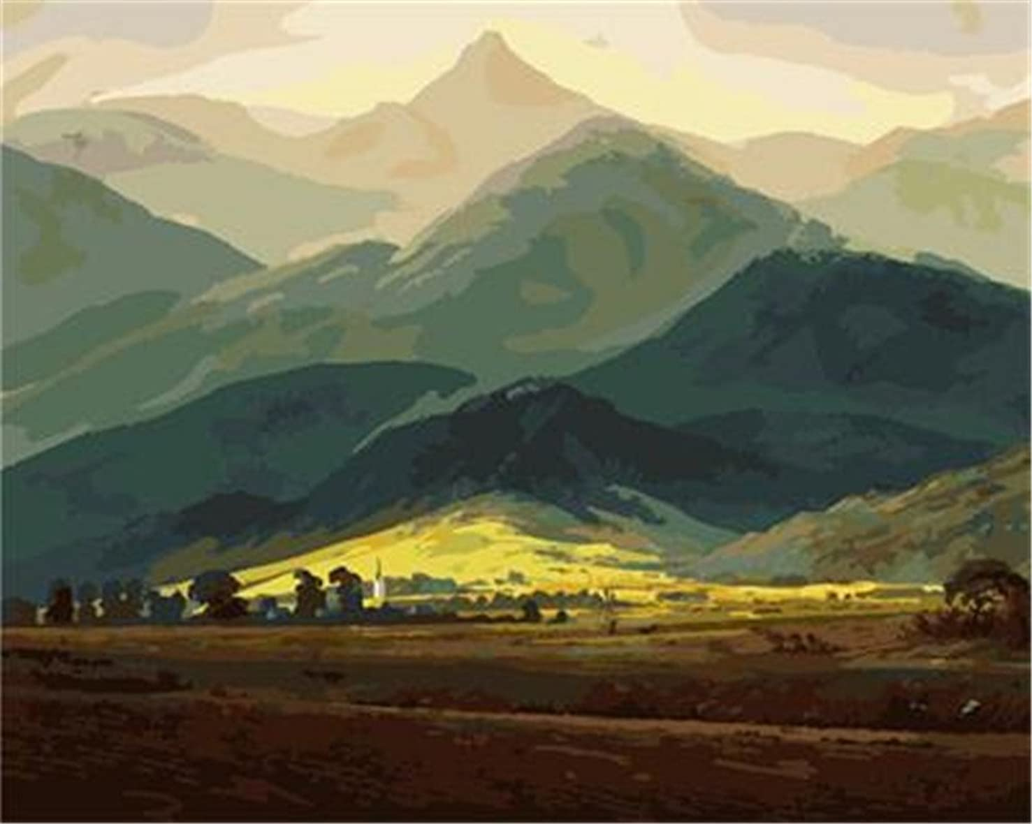 CaptainCrafts New Paint by Number Kits - Giant Mountains 16x20 inch - DIY Painting by Numbers for Adults Beginner Kids (Frameless)
