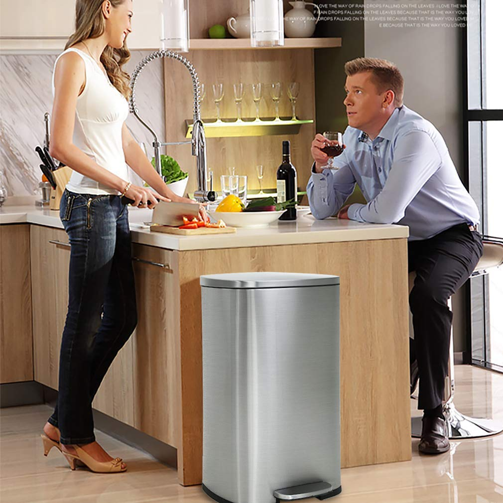 Stainless Steel Trash Can Step 13 Gallon Metal Trash Can with Lid Large Garbage Cans for Kitchen,Bathroom,Restroom Office Trash Bin Garbage Bin,Wastebasket with Pedal,Black