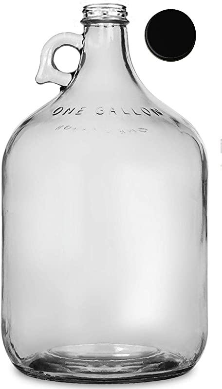 North Mountain Supply Clear Glass Jug With Handle And Black Metal Lid