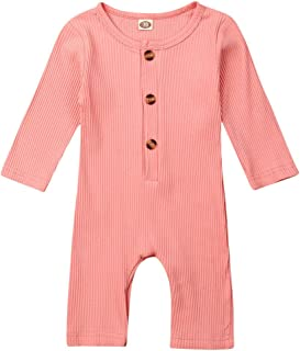 Pudcoco Baby Boys Girls Long Sleeve Knit Cotton Romper Solid Color Jumpsuit