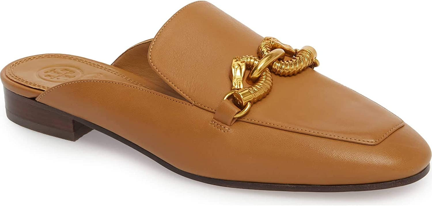Tory Burch Women's Deep Vicuna Leather Backless Jessa Loafer Mules