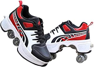 Roller Shoes Casual Sneakers Walk Skates Deform Wheel Skates for Unisex Couple Childred Runaway Skates Four-Wheeled,35