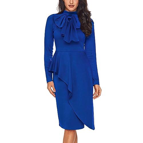 f481f7222c CICIDES Womens Tie Neck Peplum Waist Long Sleeve Bodycon Business Dress(S -XXL)