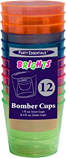 Party Essentials Hard Plastic 4-Ounce Bomber Cups, Assorted Neon, 12-Count