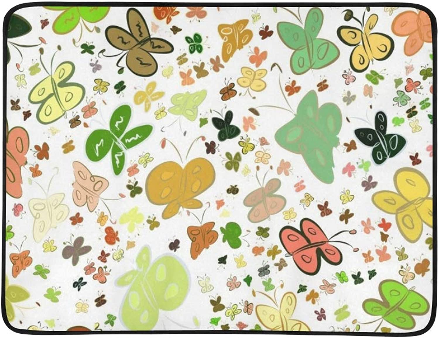 Butterfly s Abstract Hand Drawn Portable and Foldable Blanket Mat 60x78 Inch Handy Mat for Camping Picnic Beach Indoor Outdoor Travel