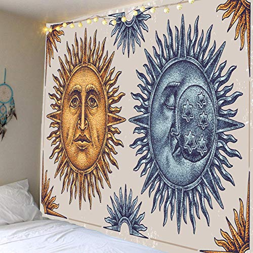 Miwaimao Hot sun and moon goddess print black and white color tapestry tapestry decorative background of various sizes,light green,2000 MMX1800 MM