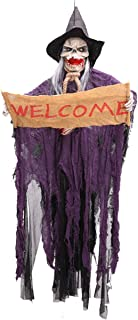 XONOR Halloween Hanging Skeleton Ghost - Sound and Touch Activated Screaming Skeleton Grim Reaper Decor Prop, 4ft/122cm Tall (Purple)