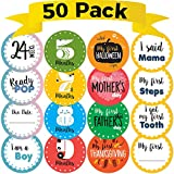 CORRURE 50 pack Baby Monthly Stickers and Pregnancy Set - 17 Belly Bump Week by Week, 12 Months, 12 Milestones and 9 Holidays for Boys and Girls - Save All the Happy Moments or Use as Baby Shower Gift