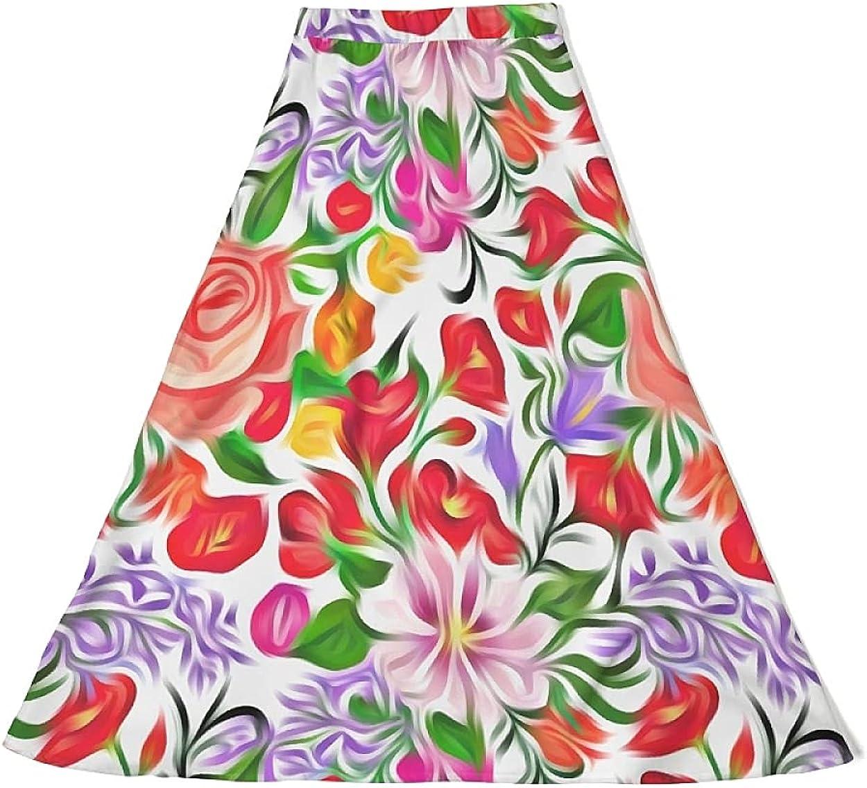 Women's A-Line Skirt Classic Casual Stretch High Waist Middle Length Chiffon Skirt