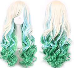 WeeH Costume Women Wigs Long Hair Cosplay Wig Spiral Curly Wavy Wigs for Wedding Party, Blue Green Gold