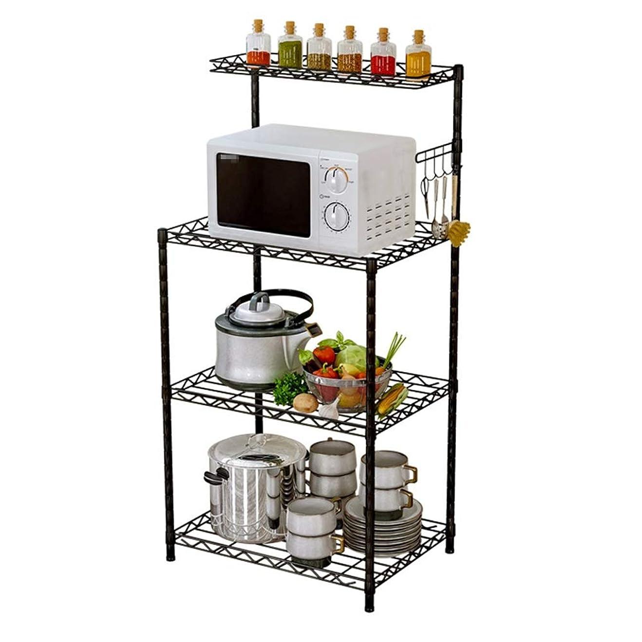 含む追跡欺レンジボード 3ティアの電子レンジワイヤーメッシュ棚フック付きキッチンオーブンラックスタンドラック キッチン収納 (Color : Black, Size : 122X58X35CM)