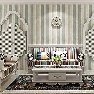 Vanme El Azul Del Mar Mediterráneo Empapelado Texturizado Salón Dormitorio De Madera Veteada Wallpaper Retro Rayas Verticales De Fondo Tela Non-Woven Tv