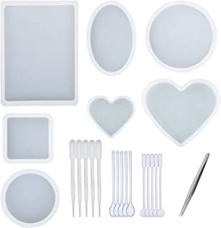 7 PCS Oversized Resin Mold, Transparent Silicone Molds Tools Set Included Rectangular, Square, Round, Oval, Heart Shaped Casting Mold, 1 PCS Tweezers and 15 PCS Plastic Making Tools for DIY Resin Cast