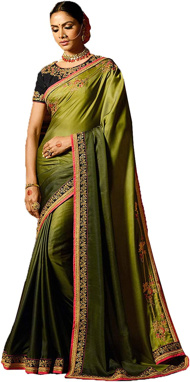 Da Facioun Indian Sarees for Women Designer Party Wear Traditional Green Sari.