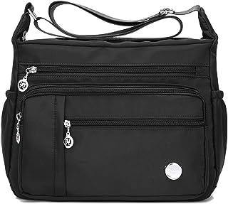 AOLVO impermeable Crossbody Bolsa Para Mujer Con Anti robo bolsillo, tamaño grande Nylon bolsas de hombro Casual Bolso de ...