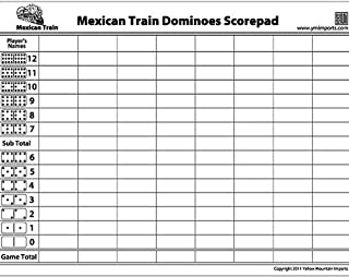 Yellow Mountain Imports 50-Sheet Scorepad for Mexican Train and Chicken Foot Dominoes