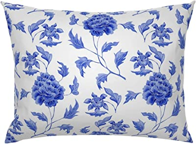Floral Pillow Sham Indigo Blue Blue And White White Cotton Sateen Pillow Sham Bedding by Spoonflower Garland Of Flowers  by chicca/_besso