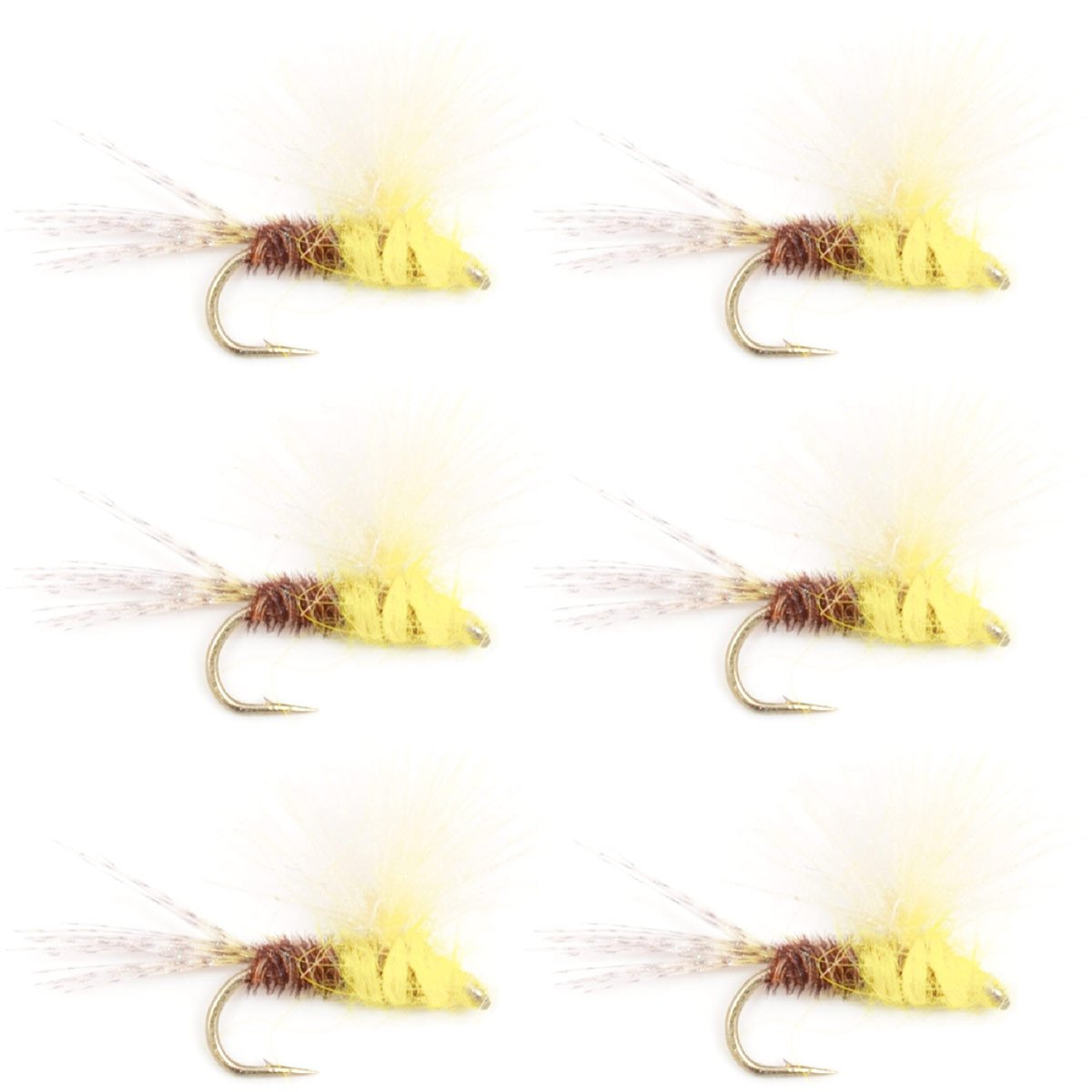 12 Piece Pale Morning Dun PMD Fly Fishing Flies Collection Free Fly Box