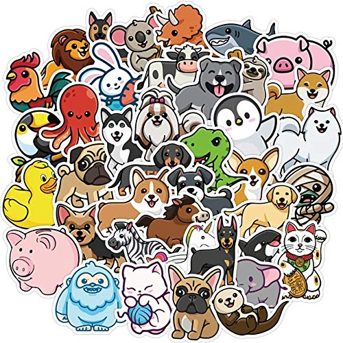 Cute Animals Kawaii Stickers Decals Water Resistant For Laptops, Phones, Phone Case, Consoles, Walls, Luggage Case, Books, Game (50 Stickers)