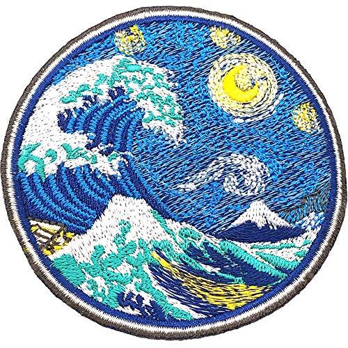 Parche Termoadhesivo para la Ropa, la Gran ola de Kanagawa con Noche Estrellada Van Gogh. Parches bordados grandes de tela japonesa térmicos -100% Bordado