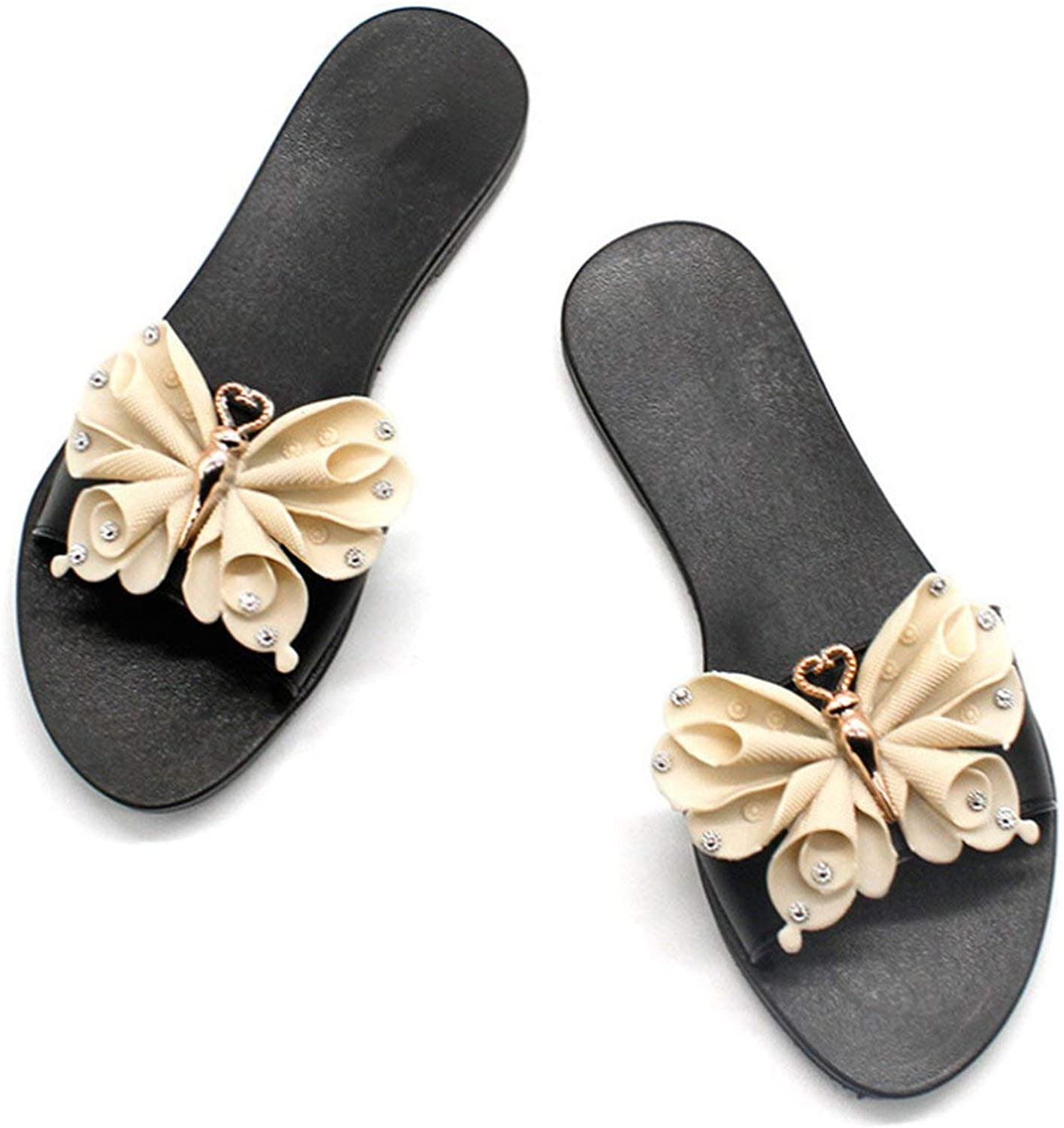 April With You Women PU Bow Summer Beach shoes Female No Fur Slippers Flat Casual Solid Outdoor Sweet Slippers