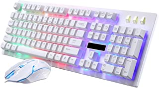 Pausseo New USB Wired LED Rainbow Color Backlight Gaming Keyboard and Optical 1600DPI Gaming Mouse Kit Set for Laptop,PC,Computer,Chromebook,MacBook,Notebook,W98/W2000/XP/VISTA/W7/8/10/Mac (White)