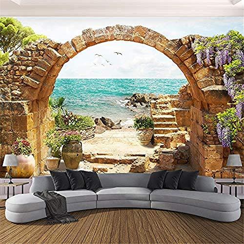 XHXI Mural de pared personalizado papel tapiz jardín arcos de piedra vista al mar papel tapiz fotogr Pared Pintado Papel tapiz 3D Decoración dormitorio Fotomural sala sofá pared mural-400cm×280cm