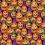 Halloween-Stoff – Kürbisse Metallic Halloween – HG109