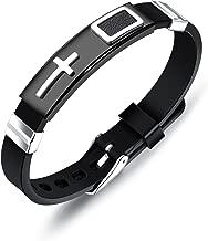 Mishow Stainless Steel Black Silicone Cross Bracelet Bangle for Men Boy Sport Wristband Religious Jewelry