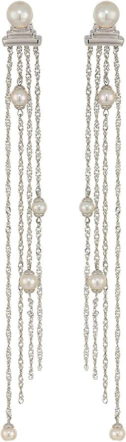 "Gatsby 4/7 mm Round Pearls Multi-Chains 4"" Earrings"