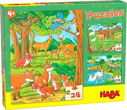 HABA 305468 - Puzzles Tierfamilien, Puzzle-Box mit 3 Tier-Motiven für Kinder ab 4 Jahren, Kinderpuzzles mit je 24 Teilen, zur Förderung der Feinmotorik und Auge-Hand-Koordination