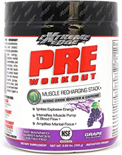 Bluebonnet Nutrition Extreme Edge Pre workout, Muscle Recharging Formula*, Increases Nitric Oxide (NO) levels*, Soy-Free, ...