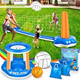 """120'' Pool Volleyball Net & Basketball Hoop Set, 2 Balls Included for Teens and Adults Kids Swimming Pool Game Toys, Floating, Summer Floaties, Volleyball Court (120""""x38""""x30"""")