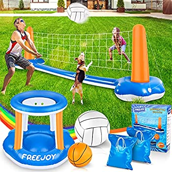 """120   Pool Volleyball Net & Basketball Hoop Set 2 Balls Included for Teens and Adults Kids Swimming Pool Game Toys Floating Summer Floaties Volleyball Court  120""""x38""""x30"""" 
