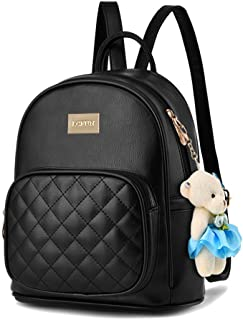 Cute Mini Leather Backpack Fashion Small Daypacks Purse for Girls and Women (S-Black)