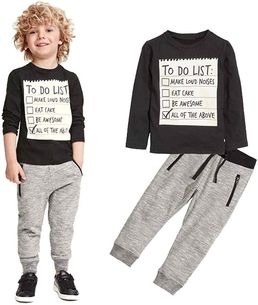 Kuner Toddler Boys Girls 2 Piece Cotton Clothing Set Long Sleeve Sweatshirts and Pant Outfit