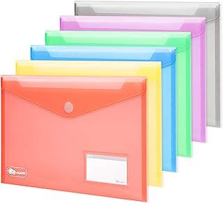 Lot de 24 Poche Porte-documents A4 Fermeture à crochet et boucle, [6 couleur Enveloppes + 30 cartes de visite] dossier de ...