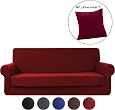ele ELEOPTION Hengwei 2 Pieces Deluxe Sofa Cover/Slipcover Rich Jacquard Stretch Fabric High Spandex Slip Resistant Stylish Furniture Shield/Protector (Sofa-3 Seater, Burgundy Red)