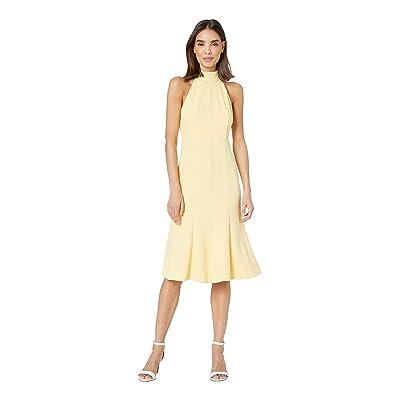 Donna Morgan Crepe Mock Neck Halter Midi Dress (Daffodil) Women